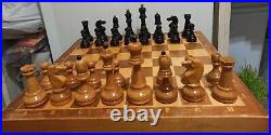 #11 1960s Vintage USSR Wooden CHESS SET with Board 40x40 cm Full Set