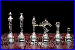 12 Brass Metal Chess Pieces Set & Board Hand Carved With Storage Box SOVIET