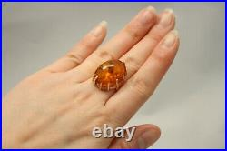 14k Rose Gold High setting and Authentic Baltic Amber Ring Made in USSR Size 6