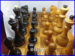 1950-60s Vintage Antique USSR Wooden CHESS SET with Board 40x40cm. Full Orig Set