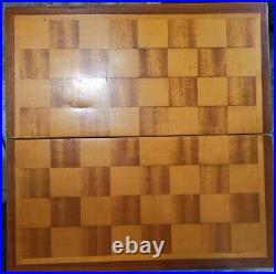 1950-60s Vintage USSR Wooden CHESS SET Board 42x42cm 16 1/2 Big antique chess 9