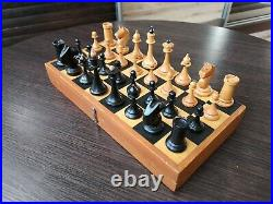 1950s made! Beautiful SMALL Vintage Soviet Chess USSR Woden Chess Full Set