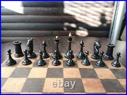 1953 made! Beautiful SMALL Vintage Soviet Chess USSR Woden Chess Full Set