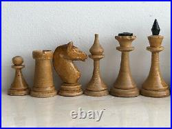 1958 Rare Vintage USSR Soviet Russian Wooden Chess Set Folding Board Antique Old