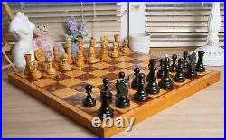 1970s Vintage USSR Wooden tournament chess SET Board 50x50 cm Big Russian chess