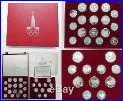 1980 Moscow Olympics Russia USSR 20+ Oz Silver 28 COIN GEM Proof Set +BOX &COA
