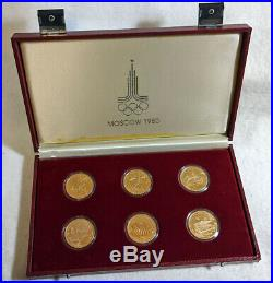 1980 Russia (USSR) Moscow Olympics 6pc Gold Set 3oz Total Gold. 900 Fine