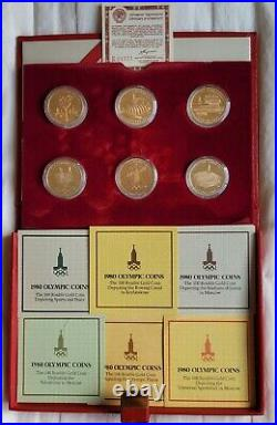 1980 Russia (USSR) Moscow Olympics Gold Set 3 oz complete, with all documents