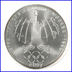 1980 USSR 5 & 10 Roubles Moscow Olympics 28 Silver coin set