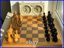 1985 Rare Vintage USSR Soviet Russian Wooden Chess Set Folding Board Old Antique