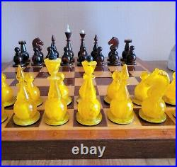 Amber soviet chess set 80s Russian Vintage USSR ambroid antique