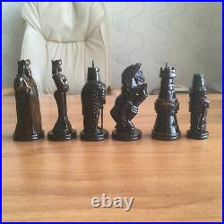 Antique Wooden Chess Set Russian from the USSR Antique Carved Wood