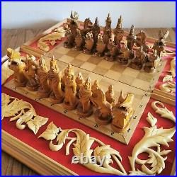 Big soviet chess set Wooden red vintage carved USSR russia antique