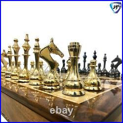 Brass Metal Chess Pieces Set SOVIET with 16 Rosewood Chess Board with Storage