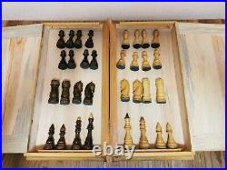 Chess set soviet wooden carved book USSR vintage antique russia large