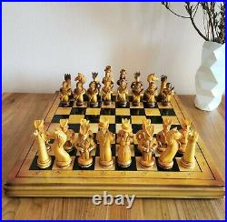 Fastship Big Soviet hand carved chess set Wooden russia vintage USSR antique