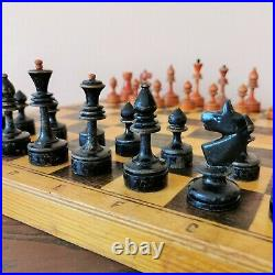 Fastship Middle soviet chess set 50s Wooden Russian Vintage USSR antique
