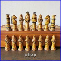 Fastship Old Soviet hand carved chess set Wooden russian vintage USSR antique