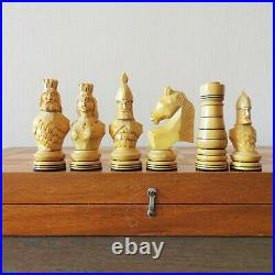 Fastship Soviet hand carved chess set Wooden russian vintage USSR antique