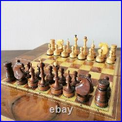 Fastship Wooden vintage hand carved soviet chess set USSR russian antique chess