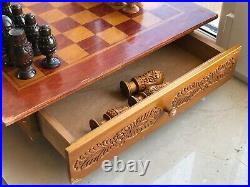 Large Handmade Vintage USSR Soviet Russian Wooden Chess Set Board Antique Old