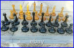 Large USSR wooden table chess set vintage outdoor soviet chess set Giant 1985