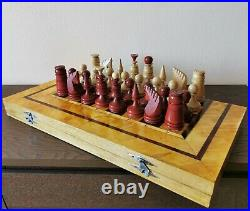 Large soviet wooden vintage hand carved chess set USSR russian antique chess