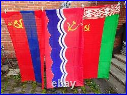 Lot Set Of 17 Large Original Flags Hammer Sickle Banner Soviet Russia Russian