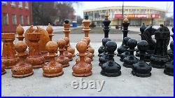 Old 1950s soviet wooden chessmen set vintage chess pieces russian antique USSR