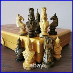 Old Soviet hand carved chess set Wooden russian vintage USSR antique