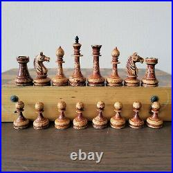 Old soviet chess set 50s Wooden Russian Vintage USSR antique
