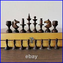 Olympic Wooden book chess set Soviet russian intarsia Vintage USSR antique
