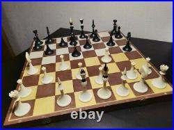 Olympic soviet chess set Russian Vintage USSR wooden plastic antique
