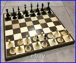 Olympic soviet chess set black green Russian Vintage USSR wooden plastic antique