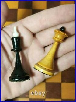 Rare Vintage USSR Soviet Russian Wooden Chess Set Folding Board Old Antique