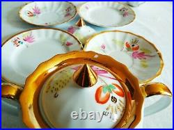 Russian rare tea set, 21 items. Hand painted, gold. Made in USSR, Verbilki