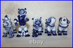 Set5 different Figurines USSR Russia Soviet Space dogs PORCELAIN Gzhel Factory
