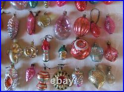 Set 50 Christmas Glass Toys Vintage Soviet Ornament Decorations New Year USSR