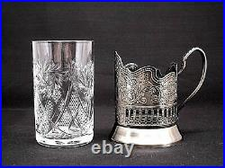 Set of 6 Russian Tea Glass Holders Podstakannik with Soviet Cut Crystal Glasses