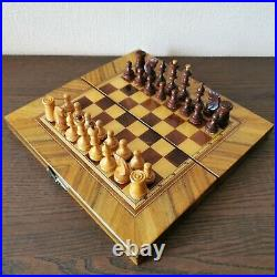 Small soviet wooden vintage hand carved chess set USSR russian antique chess
