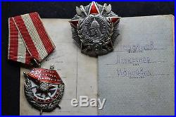Soviet Russian Group Set Order Nevsky Red Banner Star Patriotic With Documents