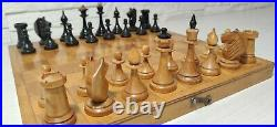 Soviet chess set 50s Latvian style Russia Vintage USSR antique wooden