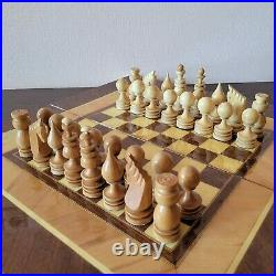Soviet chess set 80s Wooden vintage intarsia carved USSR russia antique