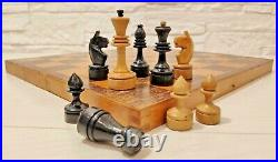 Soviet middle classic chess set Wooden Russian Vintage USSR antique