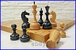 Soviet weighted Tournament hess set russian big wooden chess Vintage large USSR