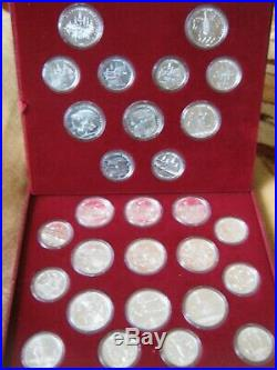 USSR Russia 1980 Moscow Olympics UNC Silver 5 & 10 Rubles 28 Coin Set cased