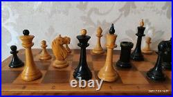 USSR chess set in good condition made of 1970s, Vintage wooden chess set