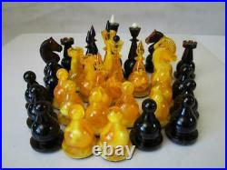 VINTAGE CHESS SET SOVIET RUSSIAN AMBEROID K 4 inches AND ORIG FOLDING BOARD
