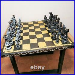 Very big carved chess set Russian wooden vintage antique soviet large USSR