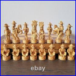 Very big soviet chess set Wooden vintage hand carved USSR russia antique